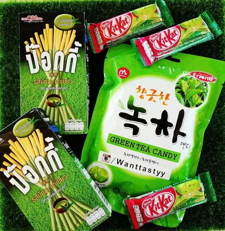 Шоколад Kit kat зеленый чай 110р Карамель Mammos зеленый чай 135р Палочки Pocky зеленый чай 290р #wanttasty