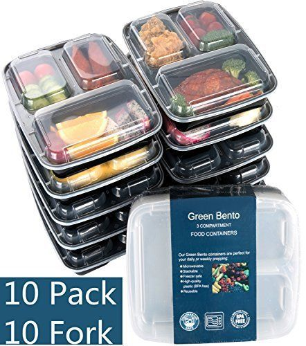 -Design The clear microwave cover for food display your delicious food inside of your portion plate set; All food trays with snap-lock lids help keeping food fresh. Good insulation properties heating food up or cool them down. The bento lunch boxes are reusable, stackable, microwave safe. The... more details available at https://www.kitchen-dining.com/blog/storage-organization/product-review-for-10-pack3-compartment-meal-prep-food-storage-containers-with-lidsbpa-free-bento-lu