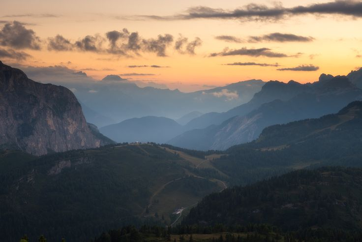 Sunset in the italian dolomites near Passo Staulanza