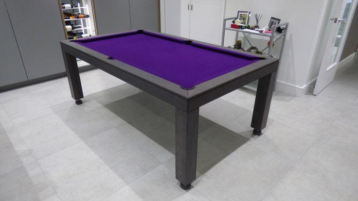 6ft  English Contemporary Pool Table. Oak Colour #13 Matt, Hainsworth Smart Purple Cloth, Elastic Pockets, Leg Design #1, Rise and Fall system.