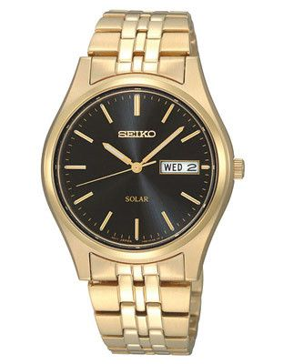 Seiko Solar Mens Watch - Black Dial - Gold-Tone - 10 Month Power Reserve - 36mm
