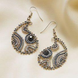 beaded paisley earrings