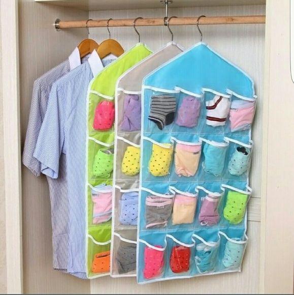 Door or clost organizer 16 pockets 16Pockets Clear Over Door Hanging Bag Socks Bra Underwear Rack Hanger Storage Organizer Other