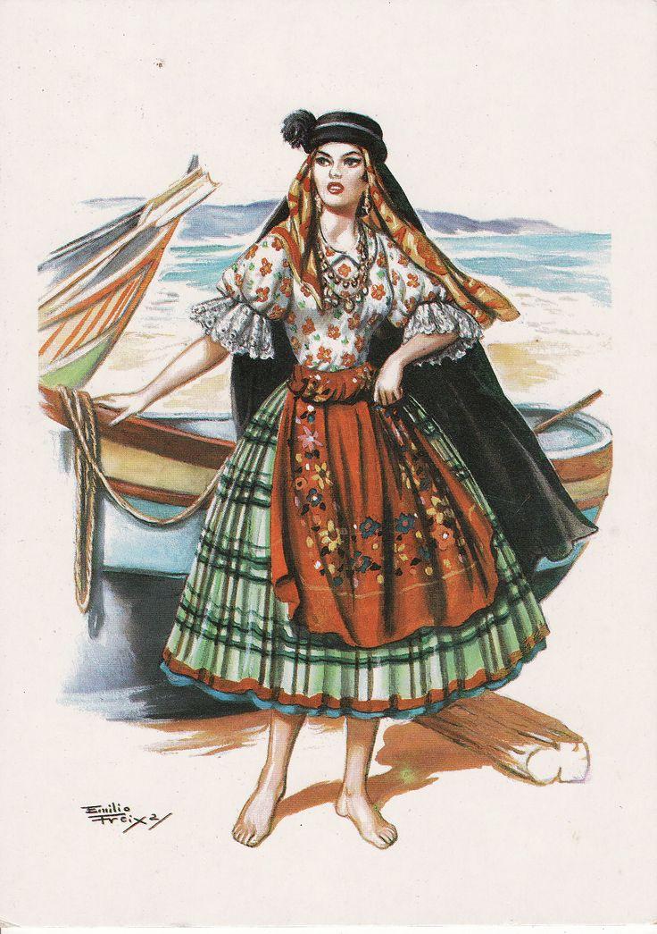 Trajo tipico Das Sete Saias (Nazaré Portugal) Traditional dress - 7 petticoats