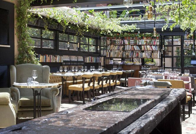 Beautiful boutique Hotel and Restaurant in Rome. Perfection. And lots of books too!