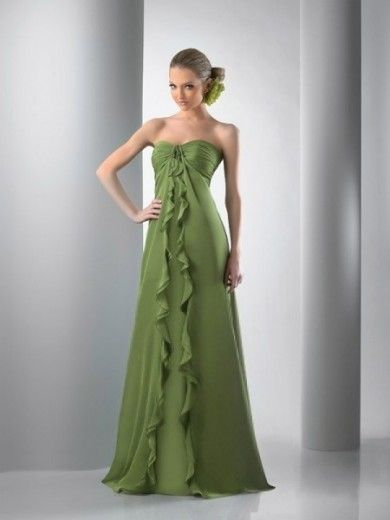 A-line Sweetheart Sleeveless Floor-length Ruffles Chiffon Bridesmaid Dresses