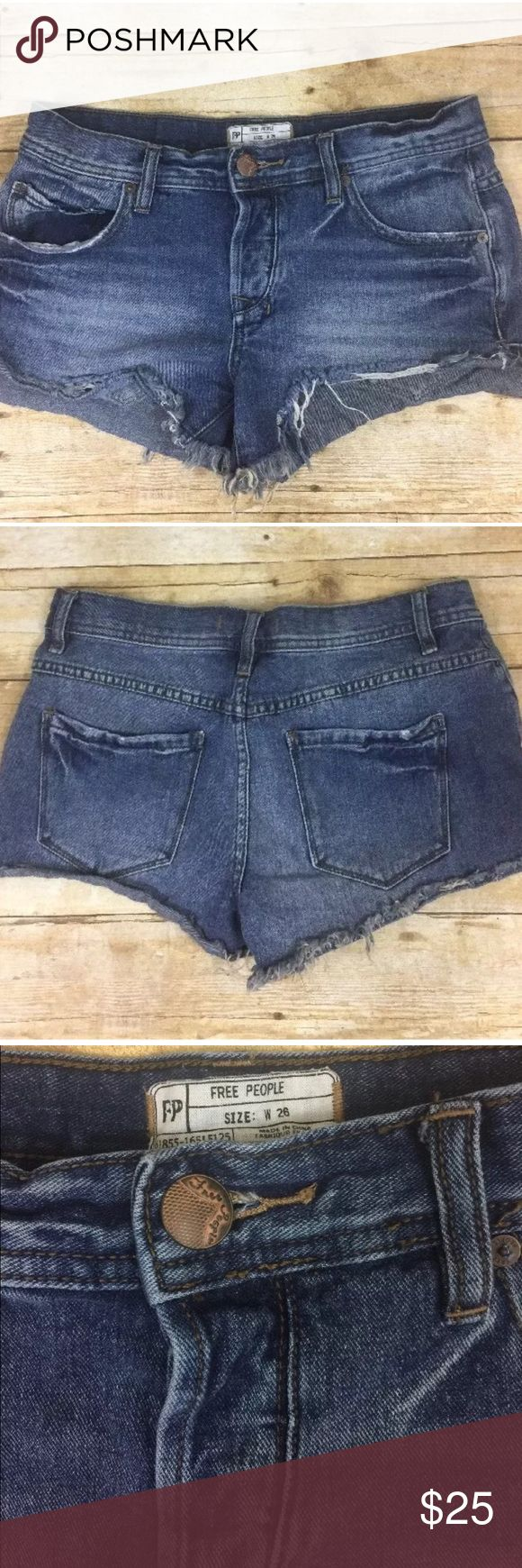 "Free People Cutoff Jean Shorts Free People Cutoff Jean Shorts Womens 26  100% Cotton  Waist-15.5"" Inseam-3"" Rise-8"" Free People Shorts Jean Shorts"
