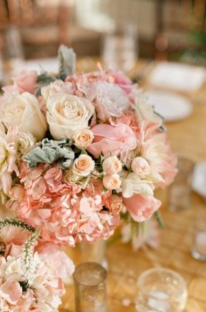 soft ivory, peach, dusty pink, pale grey hints of silv and gold: Floral Centerpieces, Outdoor Wedding, Blushes Gold And Ivory Wedding, Ivory Lush, Blushes Pink Ivory Wedding, Dusty Pink, Peaches Grey Flowers Wedding, Ivory Centerpieces, Lush Centerpieces