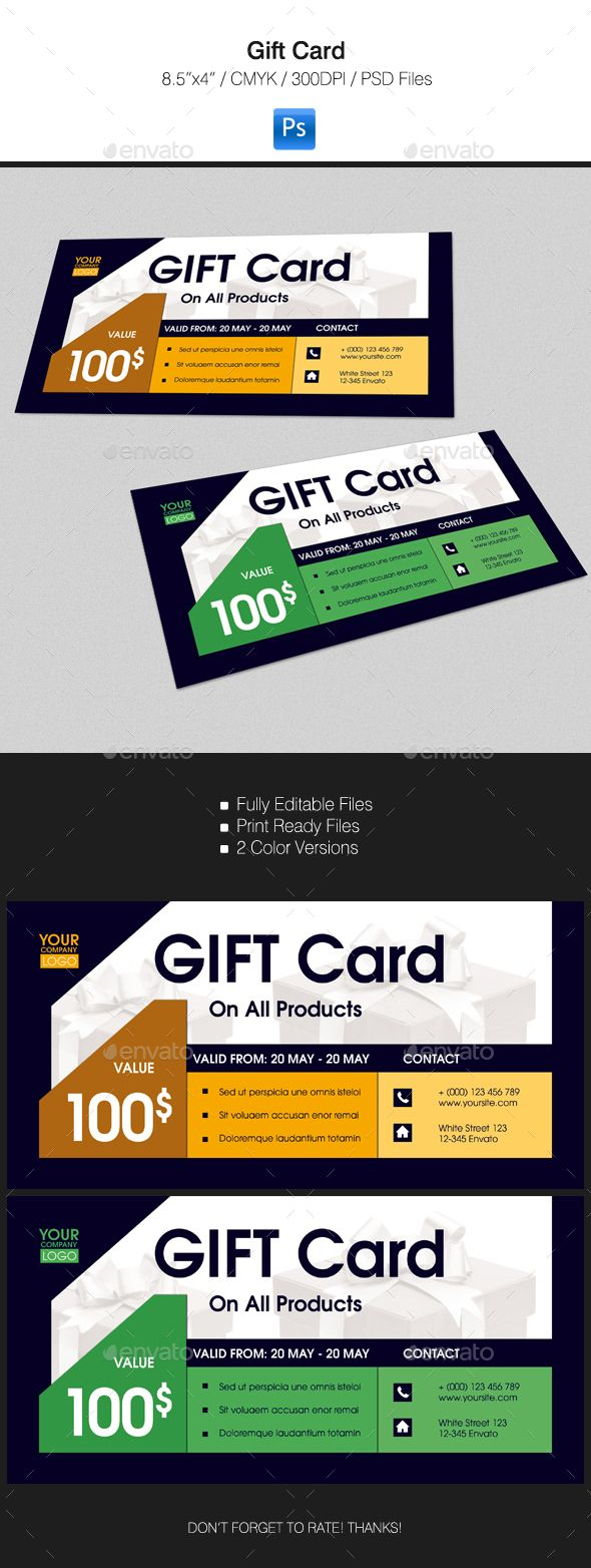 Gift Card #design Download: http://graphicriver.net/item/gift-card/15333267