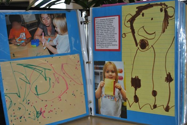 Laminated book of photographs of child and their work (Images of portfolios from Positively Preschool)