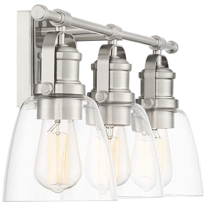 Kalen 23 1 2 Wide 3 Light Brushed Nickel Bath Light 61a93 Lamps Plus With Images Bath Light Glass Diffuser Steel Bath