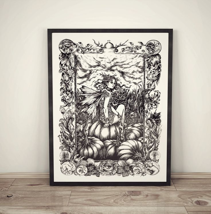 «Pumpkin fairy» original artwork, ink on paper, A3 by TheoreticalPart now available on Etsy