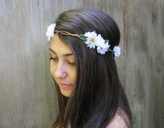 Daisy Headband, Daisy Headwrap, EDC, Daisy Flower Crown, Hippie Headband, Daisy Chain, Womans Hair Accessories, Daisies, Daisy Crown via Etsy