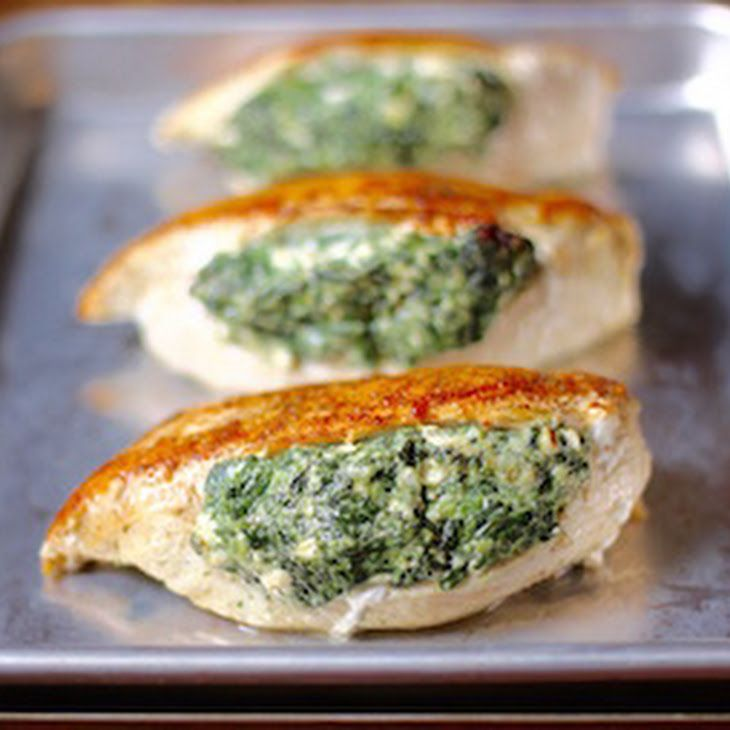 Spinach Stuffed Chicken Breasts Recipe Main Dishes with chicken breasts, frozen chopped spinach, feta cheese, cream cheese, garlic, salt, pepper, olive oil
