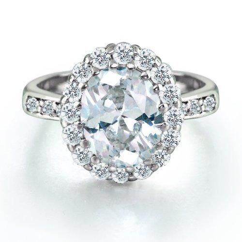 Bling Jewelry Sterling Silver 4ct Oval CZ Bequest Engagement Ring