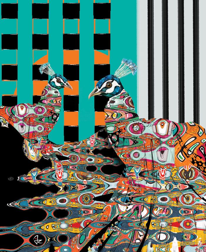 """Peacocks"" digital painting by Giulio Rossi https://goo.gl/rsA67T"