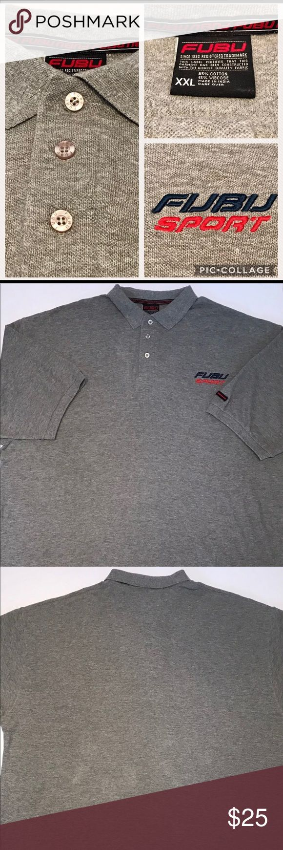 Vintage 90's Fubu Sport XXL Polo Shirt Spellout Description: Vintage 90's Fubu Sport Polo Shirt--Embroidered Spell Out  Condition: Good, used condition with no rips, tears, or stains  Material: 85% Cotton, 15% Viscose  Tag Size:    XXL (Please see actual measurements below)  Measurements: (measurements are given in inches)                              Shoulder to Shoulder:27.5                             Underarm to Underarm: 29                             Sleeve Length:13…