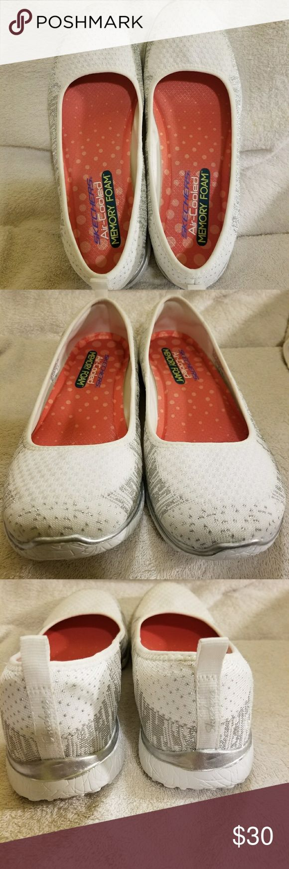Beautiful Skechers Memory Foam Flats 8.5 NWOT! Gorgeous white Skechers with silver accents. Just in time for Spring. Look great on and SO comfortable! I never wore these. Tags are still stapled to the soles. Smoke-free home. Thanks for looking! Skechers Shoes Sneakers
