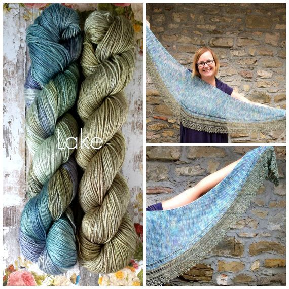 Costabella shawl kit Lake combination color / by Woollisa on Etsy