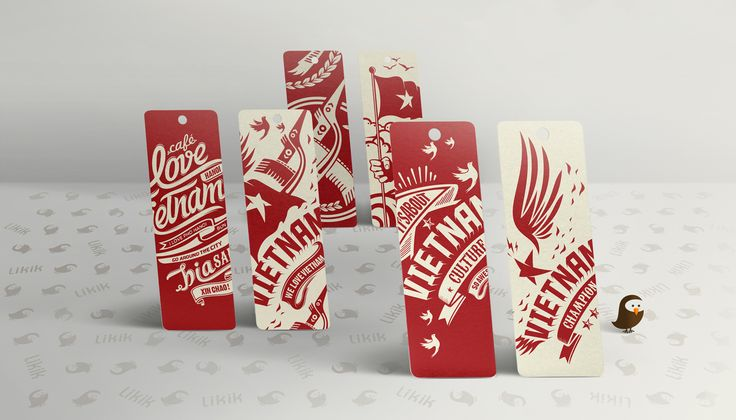 Vietnamese's culture bird, patterns and typography art in red & white.