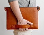 Universal laptop folder - 15% OFF macbook folio, notebook case // natural leather and wool felt // BERING (Brown)