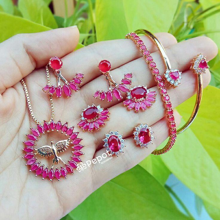 Mix lindo com pedras de zircônias 😍  ➡ Visite nosso site http://pepot.com.br e confira como comprar com descontos de até 40% #bijuterias #moda