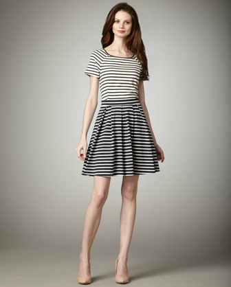 Tibi Striped Pleat-Skirt Dress