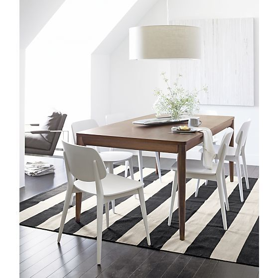 Olin black striped cotton dhurrie rug crate and barrel for Crate and barrel dining room ideas