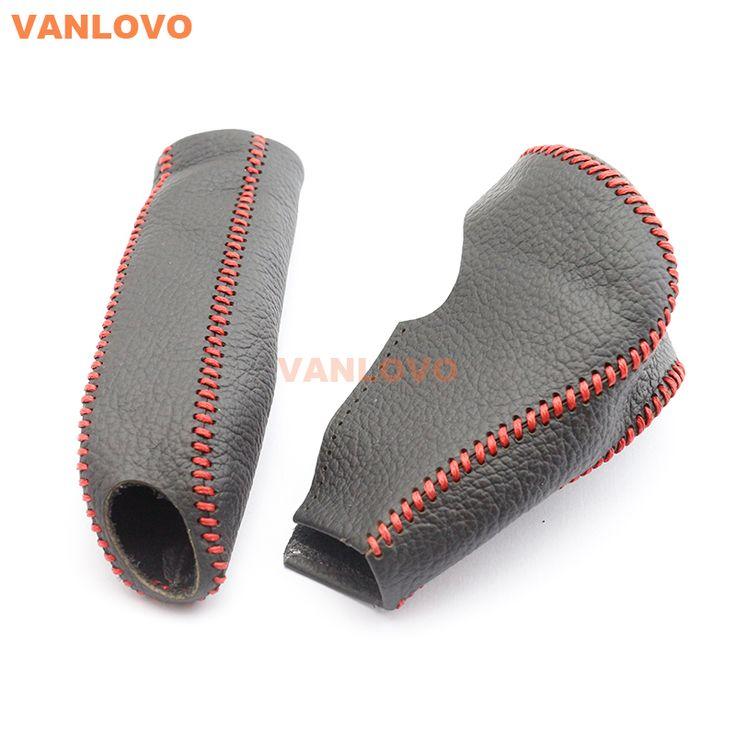 Cuero genuino de la cubierta para honda civic mk8 en collar de palanca de cambios perilla y empuñadura del freno de mano rojo/negro stitch