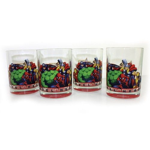 Marvel Comic Heroes Short Tumblers 4 - set of 4- More superheroes than a year subscription to Marvel Team-Up. These glasses, featuring an all-star lineup of current or one-time Avengers, will floor any comic book fan. Set of 4.