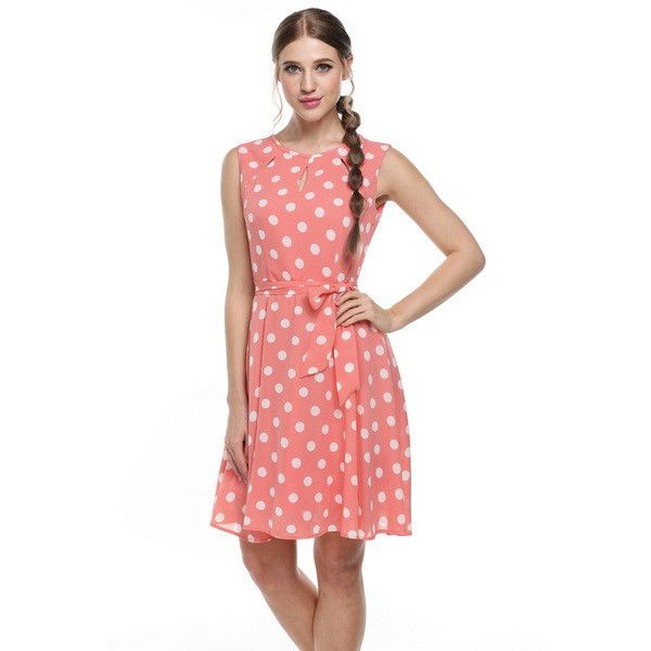 2017 Summer Women Sleeveless Casual Polka Dot Printed tunic pin up pink Beach party Chiffon Dress knee length midi elbise