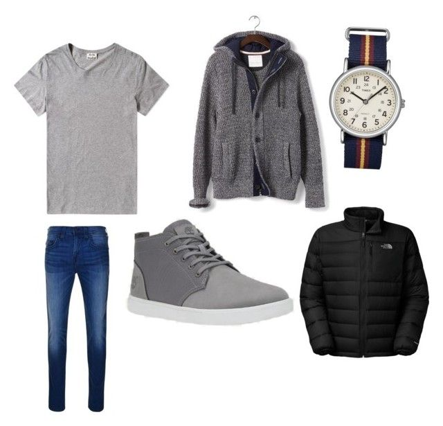 """""""Perfect outfit for school"""" by mihai-cosmin on Polyvore featuring Acne Studios, Banana Republic, Timex, The North Face, True Religion, mens, men, men's wear, mens wear and male"""