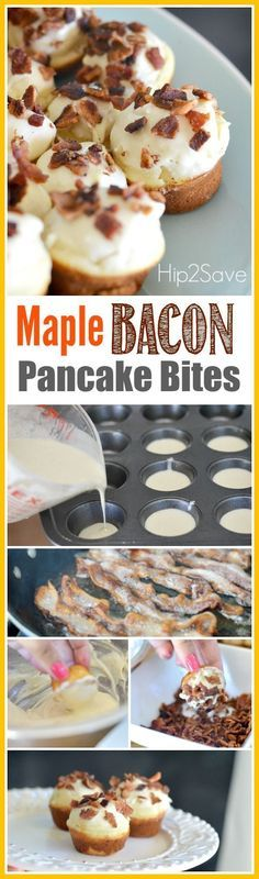 Maple Bacon Pancake Bites. A wonderful dessert recipe. If you like bacon and you like pancakes, try combining these two yummy foods into these great tasting Maple Bacon Pancake Bites. Just place the ingredients in a mini muffin tin and the result is like little clouds of salty and sweet heaven! Discover more at Hip2Save.com.