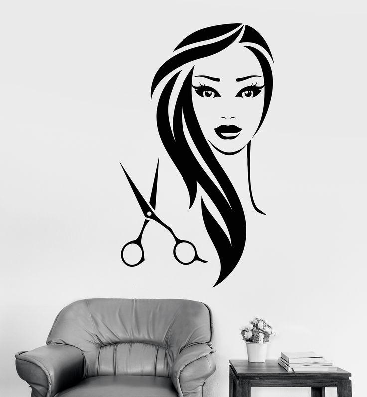 Vinyl Wall Decal Beauty Hair Salon Scissors Girl Barbershop Stickers (1313ig)