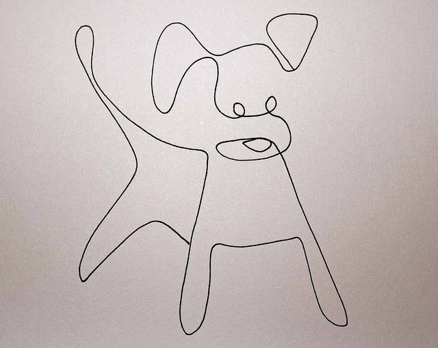 Single Line Artwork : One line drawing dog by elin folkesson via flickr