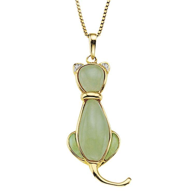 Jade & Diamond Cat Pendant #jewelry
