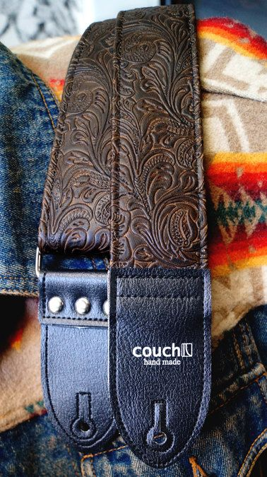 The Brown Western Guitar Strap  Vegan  Tooled by couchguitarstraps, $49.00