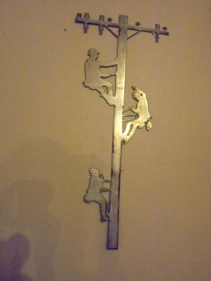 Three Lineman wall art $45.00 (2 1/2' tall) www ...