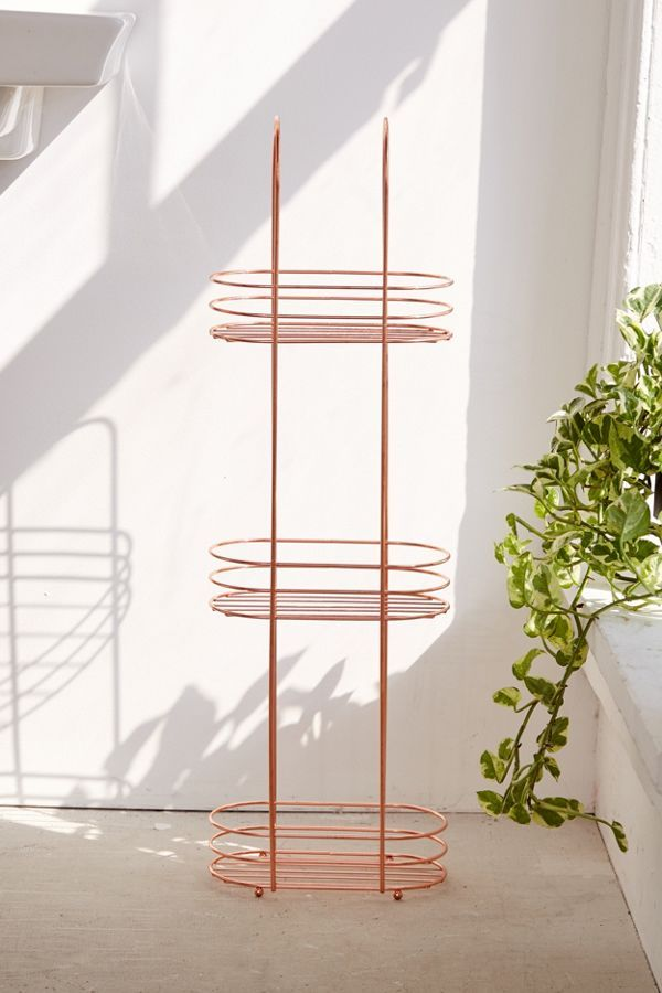 Minimal Rose Gold Standing Bathroom Storage In 2020 Bathroom