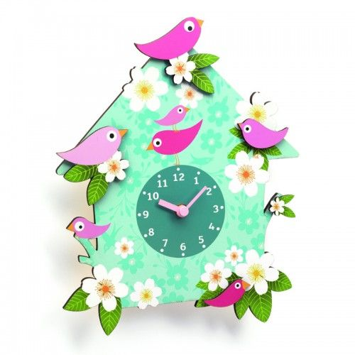 A fresh take on the traditional cuckoo clock, this wooden clock features a beautiful and whimsical bird design. With large, easy-to-read hands and cut-out pink birds, it would make an eye-catching addition to a nursery or children's bedroom.