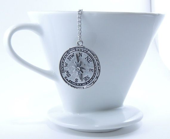 Compass Loose Tea Infuser for Loose Leaf Tea!  This stainless steel mesh tea infuser is ideal for steeping tea in a mug or in a small pot of water. It