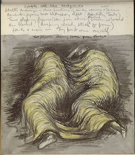 Shelter Sketch Book (1945) Henry Moore.  Sleepers in the bomb shelters during the blitz in London, WWII.