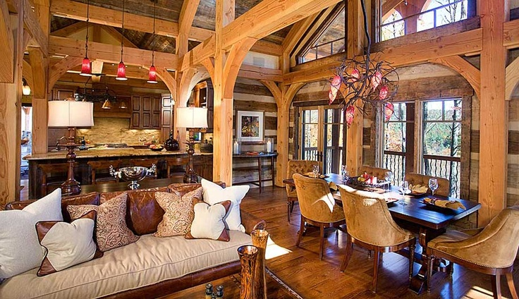 stunning log cabin living room | Log home great room | Log Cabin Dreams | Pinterest | Open ...