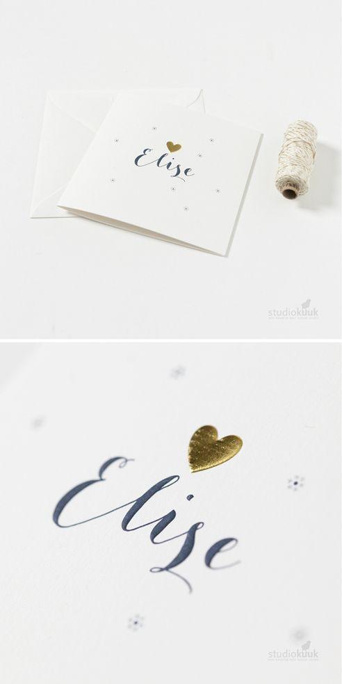 studiokuuk | Stijlvol geboortekaartje met #goudfolie  hartje | embossing | deftig blauw | #goud | grafisch