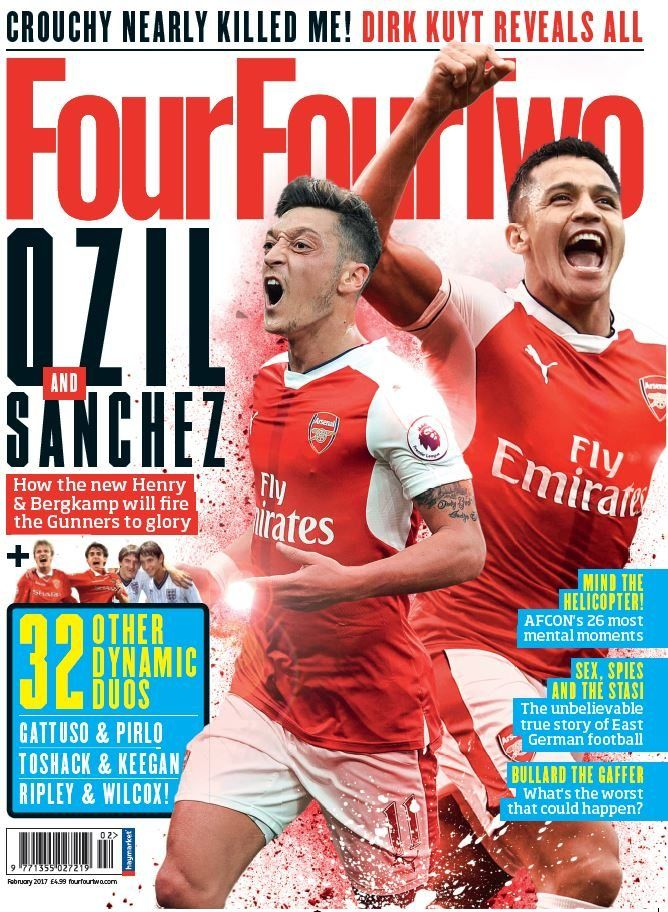Ozil and Sanchez - how the new Henry and Berkamp will fire the Gunners to glory. Plus 32 other dynamic duos: Gattuso & Pirlo, Toshack and Keegan, Ripley and Wilcox!    Also in this issue:    Mind the Helicopter! AFCON's 26 most mental moments    Crouchy neaarly killed me! Dirk Kuyt reveals all    Sex, spies and the Stasi - the unbelievable true story of East German football    Bullard the Gaffer - what's the worst that could happen?