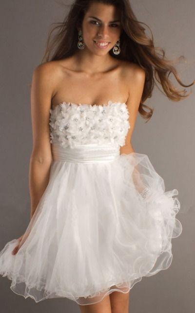 Strapless Short Organza Empire Zipper Formal Dresses gjea71317