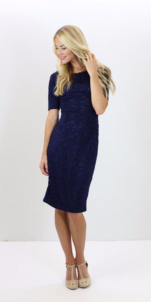 modest navy lace dress, bridesmaid dress, modest clothes