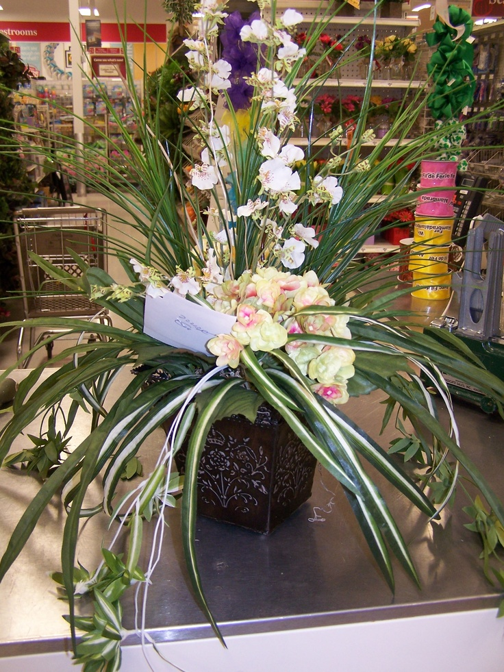 Hydrangea Tigerorchid Cherry Blossom Mid Sized Table Or Floor Piece Of Matched Set Floral Arrangements Silk Flowers Floral