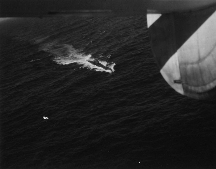 U-boat Archive - U-249 - Surrender at sea.   On her last patrol U-249 left Norway and operated off the western entrance to the English Channel.  When she received the surrender order she surfaced and flew a black flag.  The boat was located off the Scillies by a U.S. PB4-Y flown by LT F.L. Schaum on 8 May.  HMS Amethyst and Magpie met the boat and escorted her to Portland Bight on 9 May.