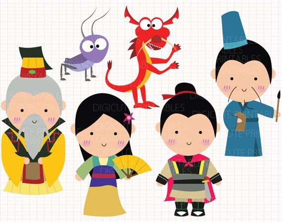 Disney Inspired Mulan Digital CLIP ARTS personal and by Digicute